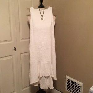 Off  white Raw silk  asymmetrical hem dress